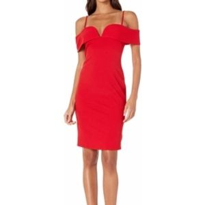Bebe Fold-Over Off the Shoulder Short Dress (Red)